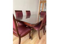 Wooden Dining Table and 6 Chairs - USED but good condition