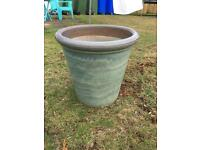 Green plant pot container