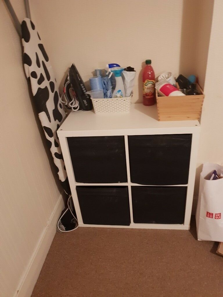 ikea white kallax 2x2 with drawer inserts in hammersmith. Black Bedroom Furniture Sets. Home Design Ideas