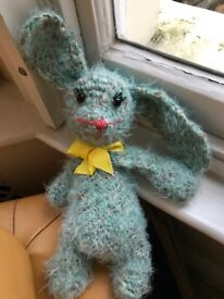 New hand-knitted rabbit bunny soft toy 100% wool