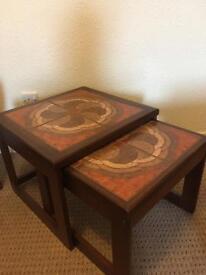 Retro Teak Vintage Nesting Side Tables with Tile tops