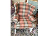Tartan winged armchair