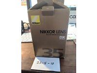 Nikon AF-S DX NIKKOR 35mm f/1.8G Lens, nearly new
