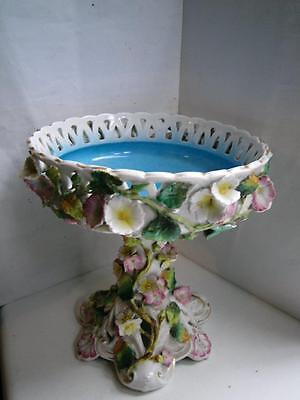 Antique German Sitzendorf porcelain pedestal floral encrusted bowl C1890