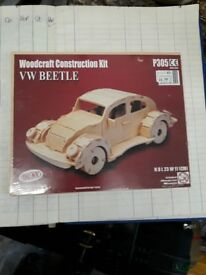Wooden car building kit. Toy Beetle