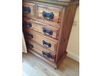 6 draw heavy solid wooden chest of draws