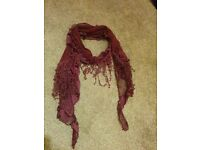 Delicate burgandy ladies scarf