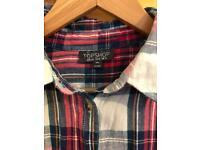 Topshop Tartan Crop Shirt Size 12