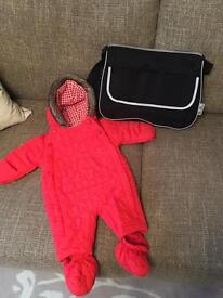 M&S baby girls snowsuit 0-3 and changing bag