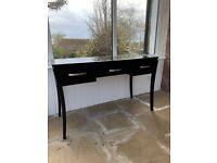 Black wood and glass desk/ console table with drawers and office chair