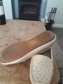 Nude colour flat jewelled shoes size 6