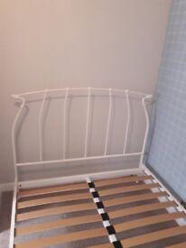 Vintage cream metal bed frame