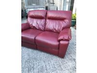 FREE! Red leather 2 seater sofa power recliner