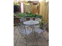 Iron Vintage Distressed Garden Table & Chairs