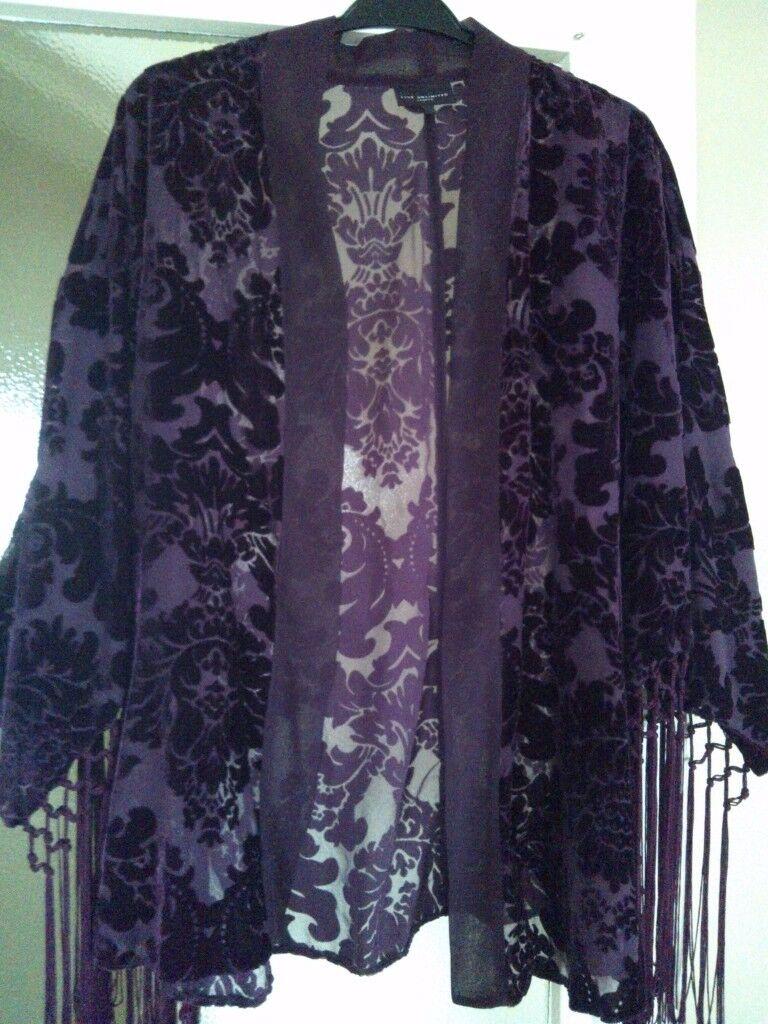 Beautiful Rich purple fringe devor'e jacket. As new.