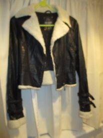 """Parisan brand"" black faux leather aviator jacket. Size 8"