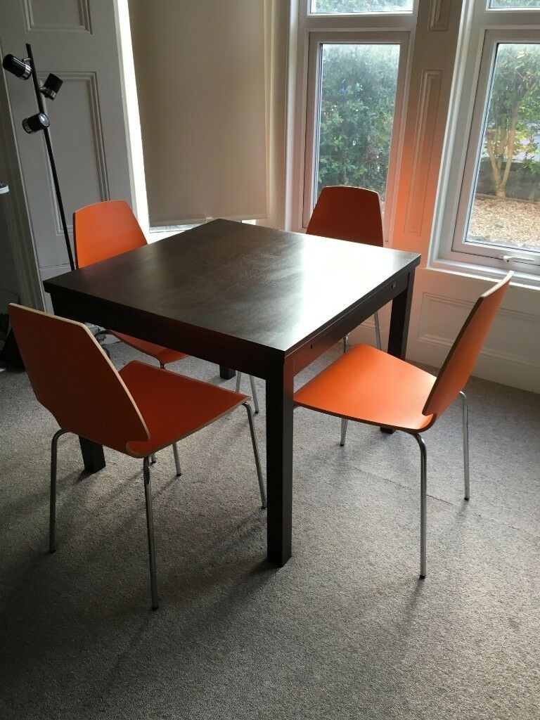 Ekedalen Extendable Table And Four Chrome Plated Orange Ikea