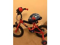 14inch spider man bike with helmet