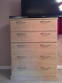 Hepplewhite Milan 5 drawer chest and dressing table with stool