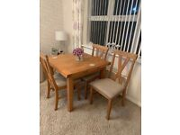 Immaculate high quality solid wood extendable table and 4 chairs