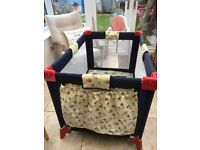Travel cot/play pen + IKEA high chair