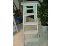 Painted shabby chic style step ladder/shelf unit in pale grey.