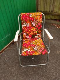 Vintage Retro 70/80's Floral Folding Deck Chair Picnic/Camping/ Garden