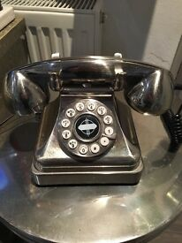 Retro style brushed steel home phone