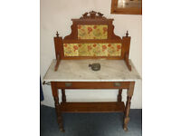 Antique washstand in light wood with marble top, beautiful poppy tiled back and drawer.