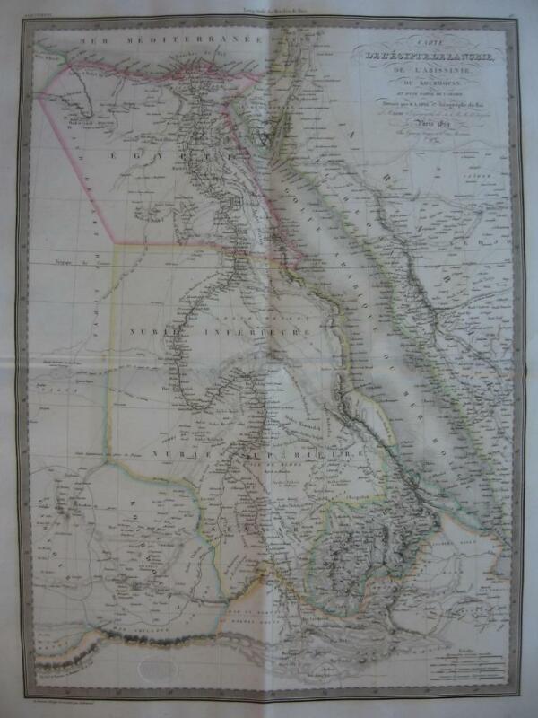 1829 - LAPIE - Large map  EGYPT SUDAN ERITREA ETHIOPIA