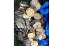 Dry conifer tree logs 1 bag for log burner