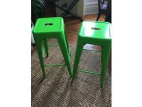 Tolix Industrial Metal Bar Stools X2 Green, New, Chair