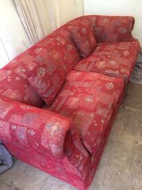 pink pattern material 4 seater sofa