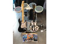 Wii games Rock Band, Guitar Hero & Battle of the Bands plus all equipment
