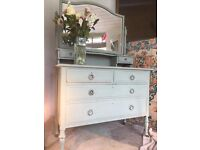 Vintage Dressing Table Bevelled Mirror beautiful Chalk Painted and Waxed