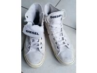Diesel white shoes, high top trainers