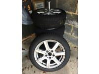 4 winter tyres, alloys and tyre stand