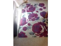 Red purple grey cream flower rug