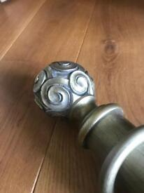 LARGE WOODEN CURTAIN POLE AND HOLD BACKS