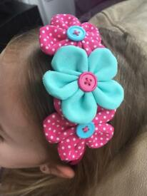 New unique headband with fabric flowers,big choice