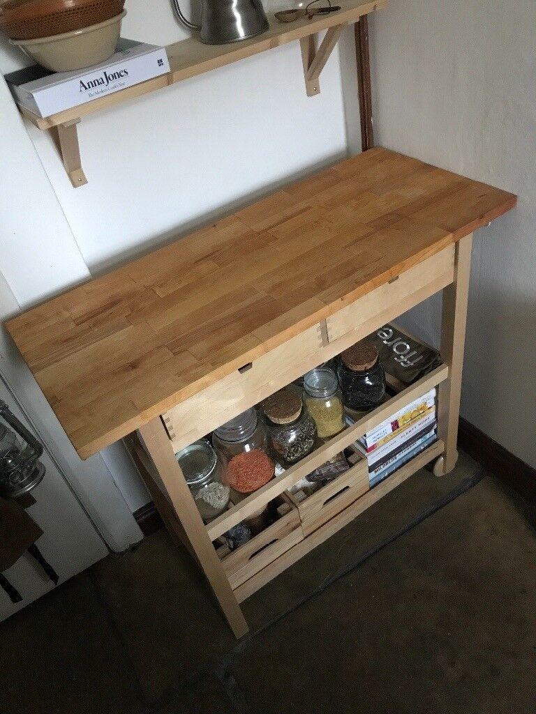 Ikea FÖrhÖja Butchers Block Kitchen Trolley Storage Solid Wood