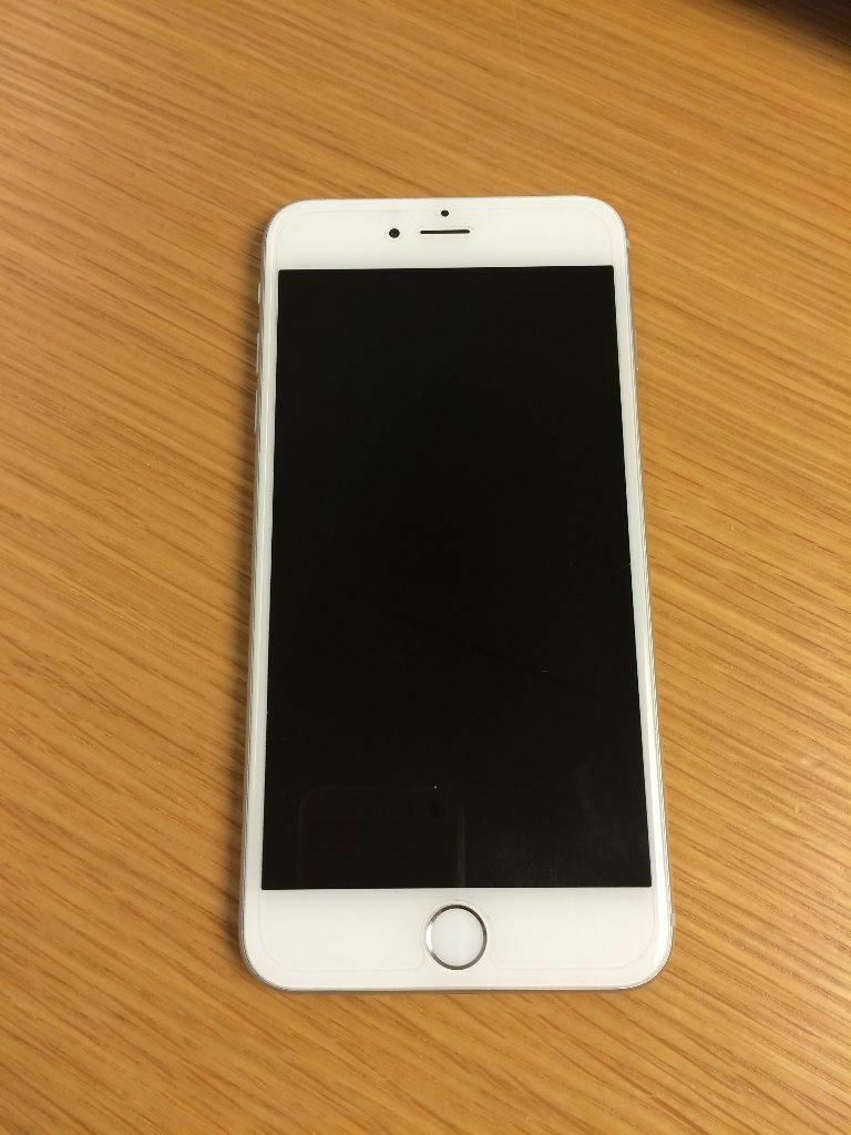 iphone 6 plus white. apple iphone 6 plus white/silver 64gb including brown leather case iphone white h