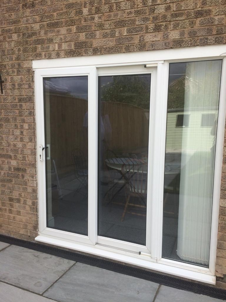 White Upvc Patio Door With Additional Fixed Panel In Eaglescliffe