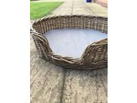 Large willow dog basket and foam cushion pad