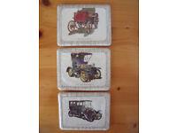 3 vintage kitsch vintage cars plastic coasters-1891 Panhard;1904 Humberette;1906 Renault.£2.Can post