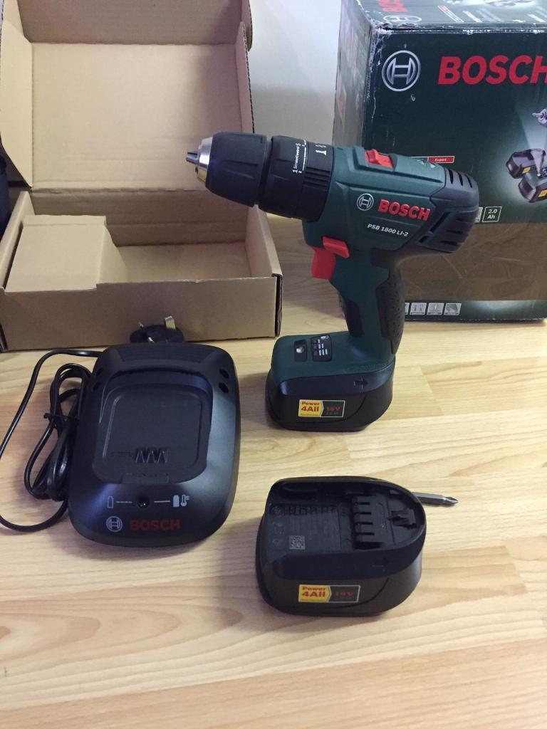 Bosch 18v Lithium-Ion Cordless Combi Drill, Battery Charger