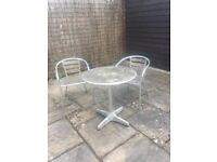 Patio garden table and chairs - wood and metal.
