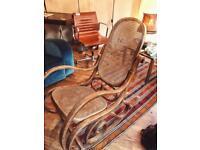 Vintage Rocking Chair - Bentwood & Cane Rocker Mid Century Antique