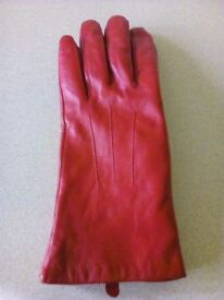 100% Real leather red gloves