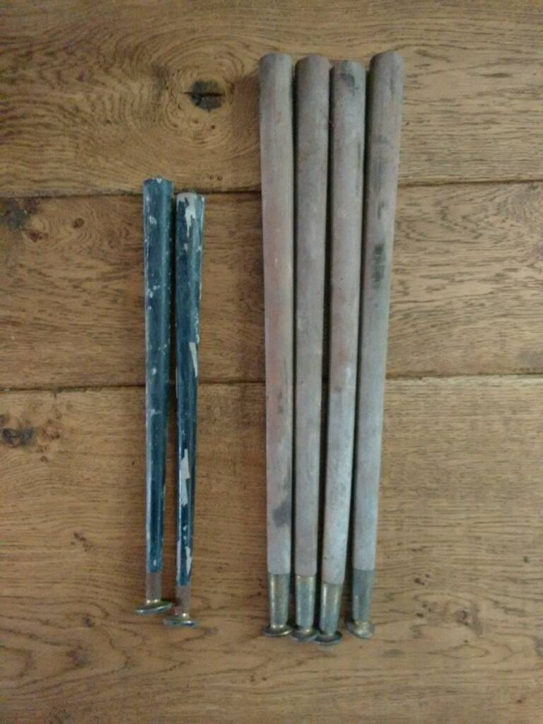 Vintage 1960s 1970s Wooden Table Legs W Brass Braces And Feet In